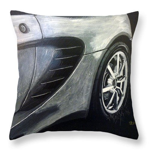 Lotus Exige Throw Pillow featuring the painting Lotus Exige Rear Side by Richard Le Page