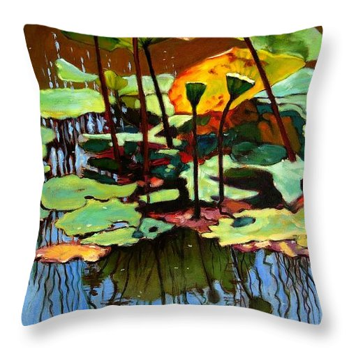 Lotus Flower Throw Pillow featuring the painting Lotus In July by John Lautermilch
