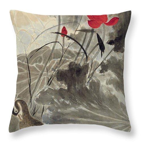 Lotus Plum Peony Flower Throw Pillow featuring the painting Lotus Mandarin Duck by Zhang Daqian