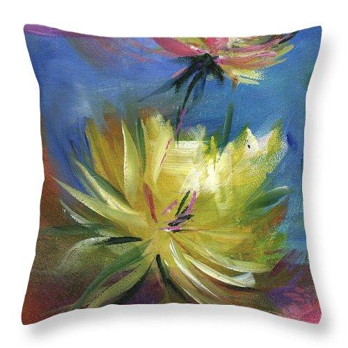 Flower Throw Pillow featuring the painting Lotus by Melody Horton Karandjeff
