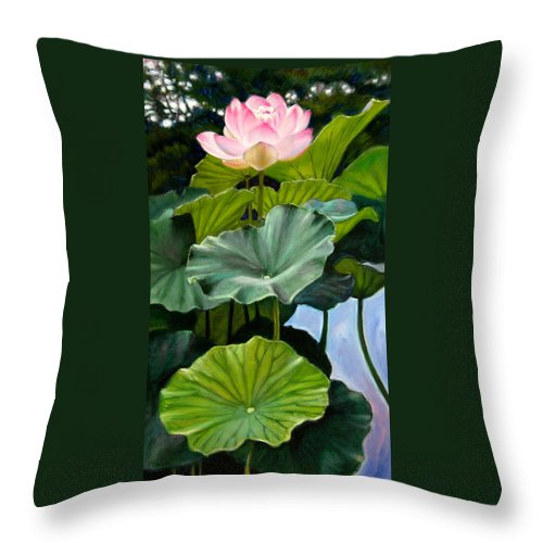 Lotus Flower Throw Pillow featuring the painting Lotus Rising by John Lautermilch