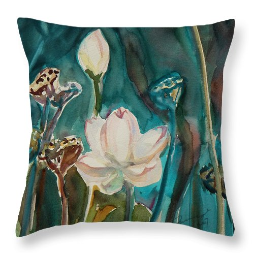 Watercolor Throw Pillow featuring the painting Lotus Study I by Xueling Zou