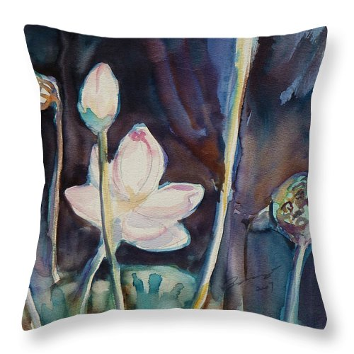 Watercolor Throw Pillow featuring the painting Lotus Study II by Xueling Zou