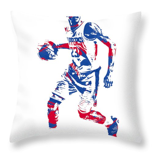 Lou Williams Throw Pillow featuring the mixed media Lou Williams Los Angeles Clippers Pixel Art 10 by Joe Hamilton
