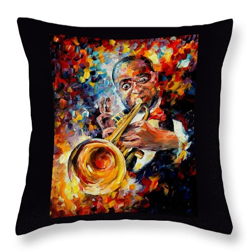 Music Throw Pillow featuring the painting Louis Armstrong by Leonid Afremov
