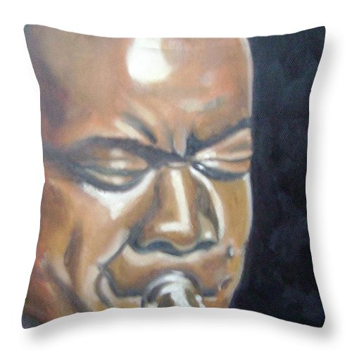 Louis Armstrong Throw Pillow featuring the painting Louis Armstrong by Toni Berry