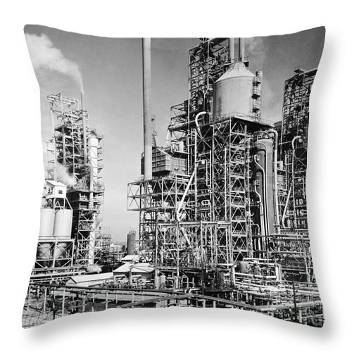 1944 Throw Pillow featuring the photograph Louisiana: Oil Refinery by Granger