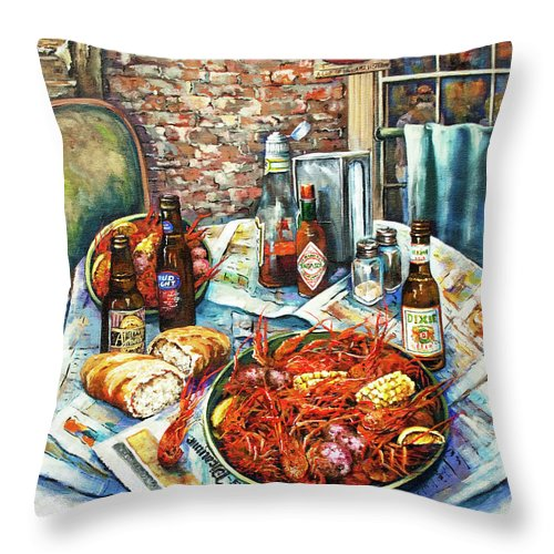 New Orleans Art Throw Pillow featuring the painting Louisiana Saturday Night by Dianne Parks
