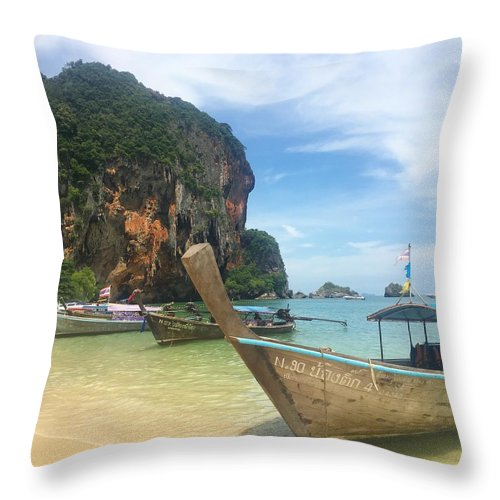 Thailand Throw Pillow featuring the photograph Lounging Longboats by Ell Wills