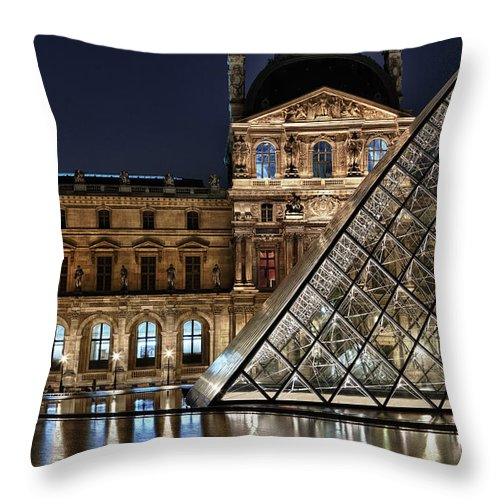 France Throw Pillow featuring the photograph Louvre By Night II by Stefan Nielsen