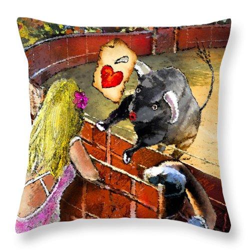 Bullfight Throw Pillow featuring the painting Lova Bull by Miki De Goodaboom
