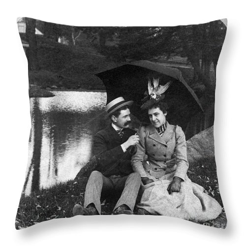 1900 Throw Pillow featuring the photograph Love, 1900 by Granger