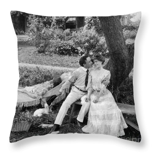 20th Century Throw Pillow featuring the photograph Love, 1906 by Granger