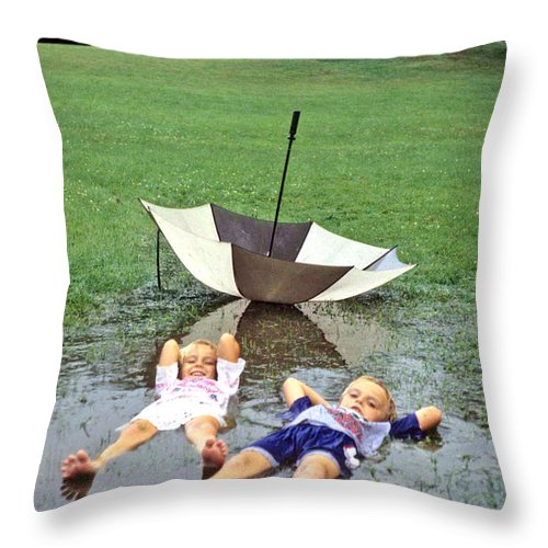 Children Throw Pillow featuring the photograph Love A Rainy Day Series by Laurie Paci
