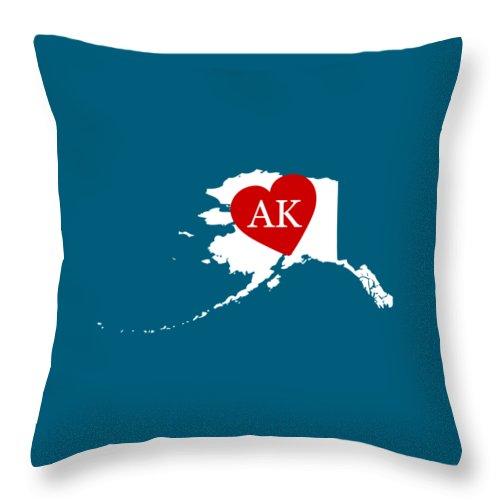 Alaska Throw Pillow featuring the digital art Love Alaska White by Custom Home Fashions