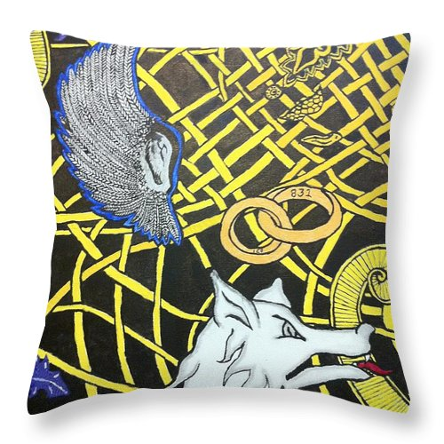 Throw Pillow featuring the painting Love Between Valkyrie And Wolf by Brett Genda
