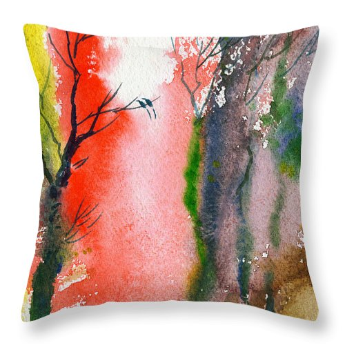 Landscape Throw Pillow featuring the painting Love Birds 2 by Anil Nene