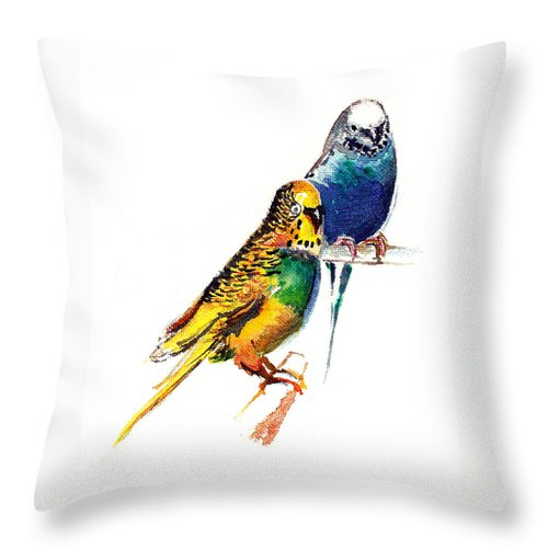 Nature Throw Pillow featuring the painting Love Birds by Anil Nene