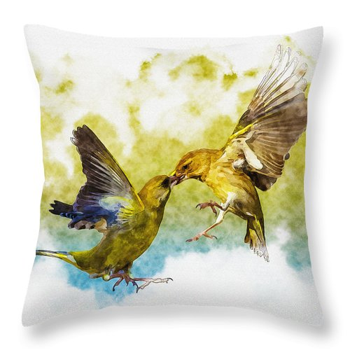 Art & Collectibles Throw Pillow featuring the digital art Love Birds by Don Kuing