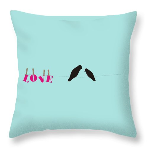 Love And Laundry Throw Pillow featuring the digital art Love Birds Love Line by Priscilla Wolfe