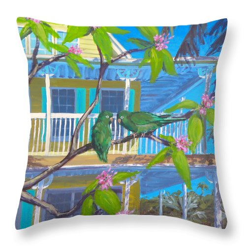 Parrots Throw Pillow featuring the painting Love Blooms by Paul Emig