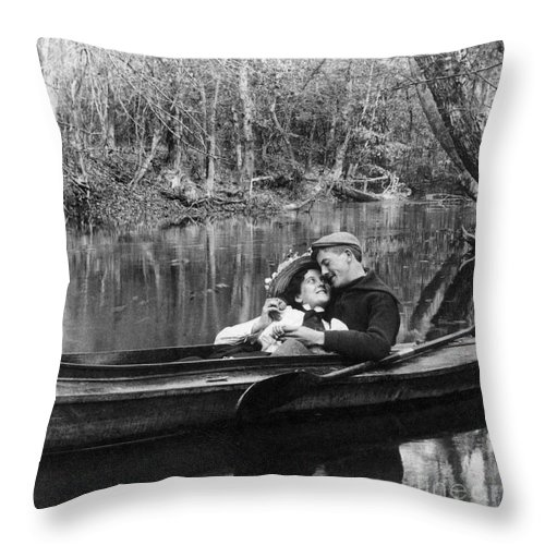 1900 Throw Pillow featuring the photograph Love, C1900 by Granger