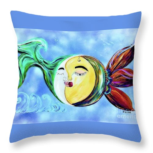 Contemporary Throw Pillow featuring the painting Love Connect - You Are My Moon And Sun by Eloise Schneider Mote