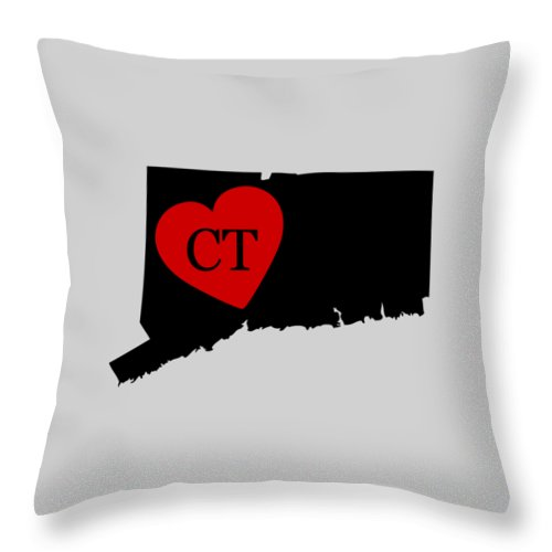 Connecticut Throw Pillow featuring the digital art Love Connecticut Black by Custom Home Fashions