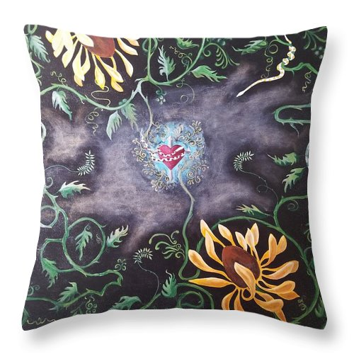 Flower Throw Pillow featuring the painting Love Demise by Ron Tango Jr