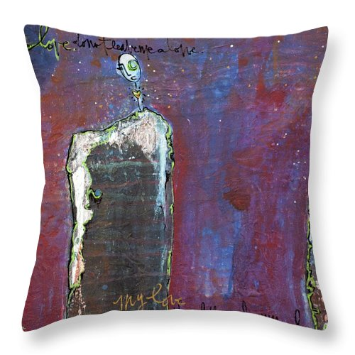 Lollipop Throw Pillow featuring the painting Love Do Not Leave Me Alone by Laurie Maves ART