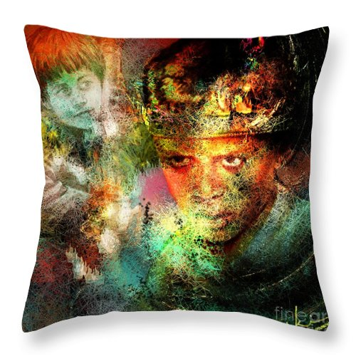 Portrait Throw Pillow featuring the painting Love For The Boy King by Miki De Goodaboom