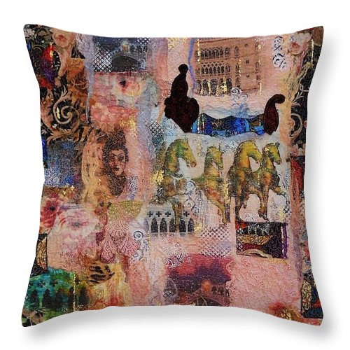 Venice Throw Pillow featuring the mixed media Love For Venice by Averil Stuart-Head