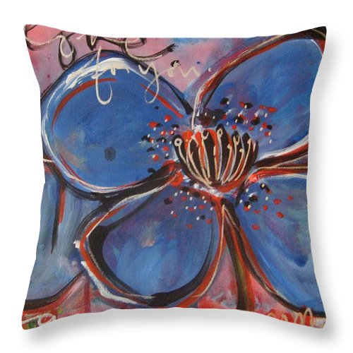 Blue Throw Pillow featuring the painting Love For You No.2 by Laurie Maves ART