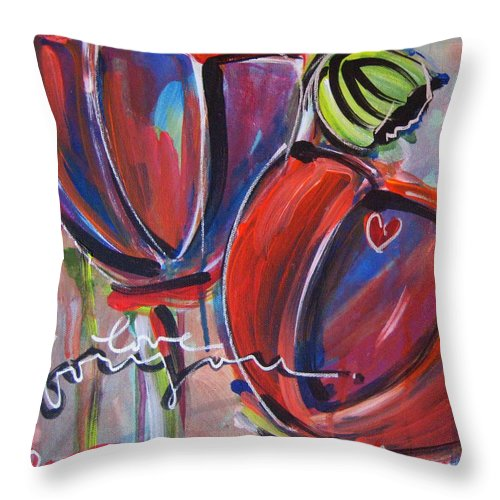Poppies Throw Pillow featuring the painting Love For You No.3 by Laurie Maves ART