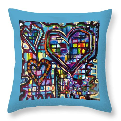 Love Throw Pillow featuring the painting Love Hearts by Catherine Gruetzke-Blais