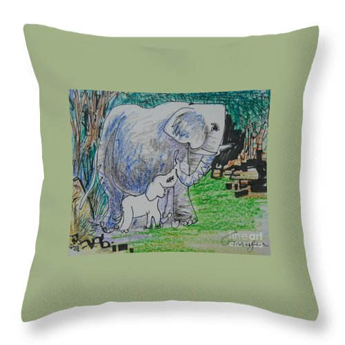 Elephant Throw Pillow featuring the drawing Love I by Guanyu Shi