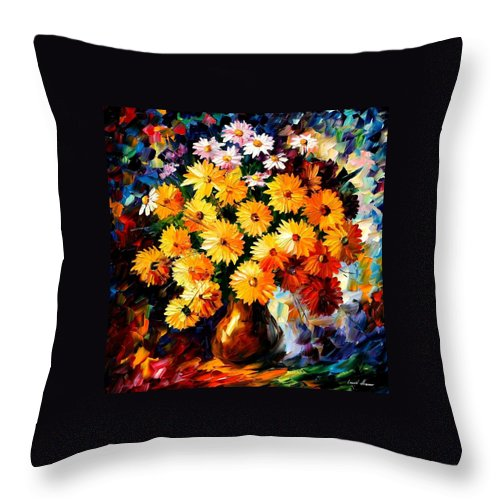 Flowers Throw Pillow featuring the painting Love Irradiation by Leonid Afremov