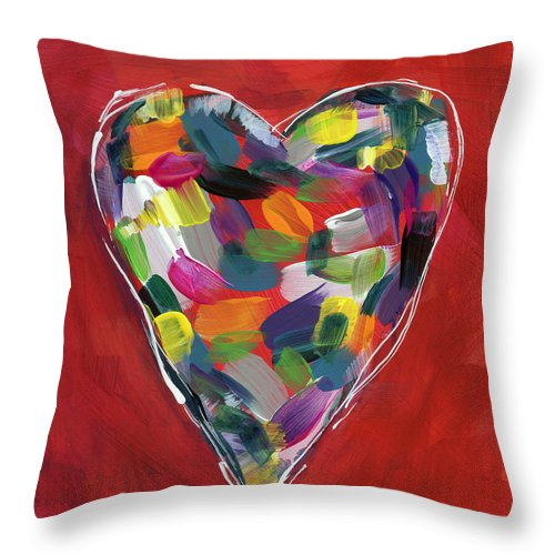 Heart Throw Pillow featuring the painting Love Is Colorful - Art By Linda Woods by Linda Woods