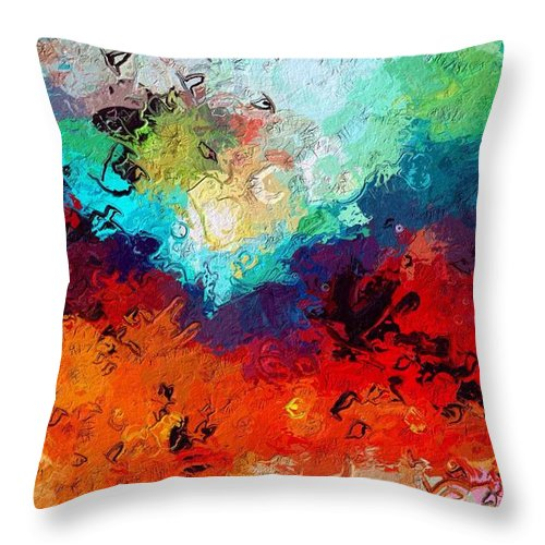 Love Heart Birds Air Sky Abstract Expressionism Impressionism Color Colorful Landscape Throw Pillow featuring the painting Love Is In The Air by Steve K