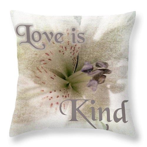 Flower Throw Pillow featuring the photograph Love Is Kind by Rachel Hannah