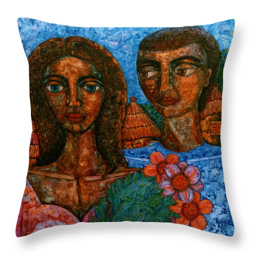 Love Throw Pillow featuring the painting Love Is Like A Bird by Madalena Lobao-Tello