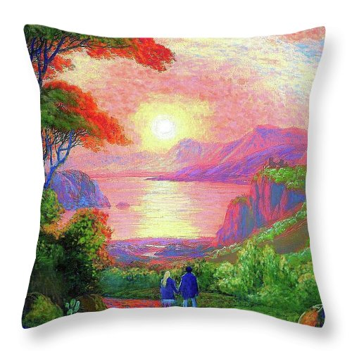 Tree Throw Pillow featuring the painting Love is Sharing the Journey by Jane Small