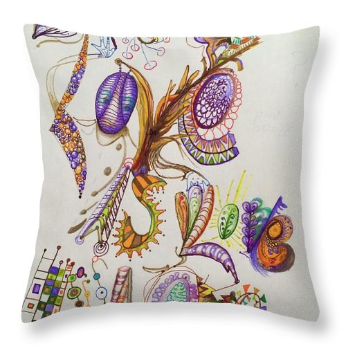 Lettering Throw Pillow featuring the drawing Love Is by Suzanne Udell Levinger