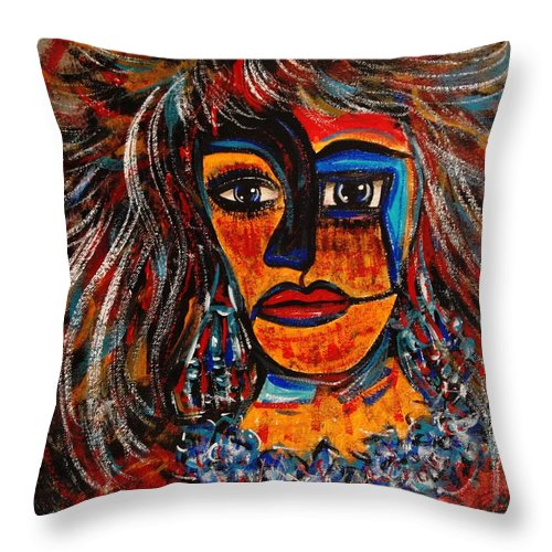 Expressionsim Throw Pillow featuring the painting Love Me Or Leave Me by Natalie Holland
