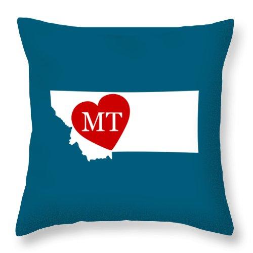 Montana Throw Pillow featuring the digital art Love Montana White by Custom Home Fashions