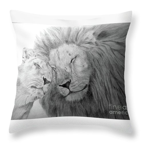 Lions Wild Cats Animals Drawing Pencil Paper Throw Pillow featuring the drawing Love by Nadi Sabirova