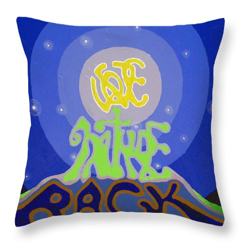 Abstract Throw Pillow featuring the painting Love Nature Back by Jaison Cianelli