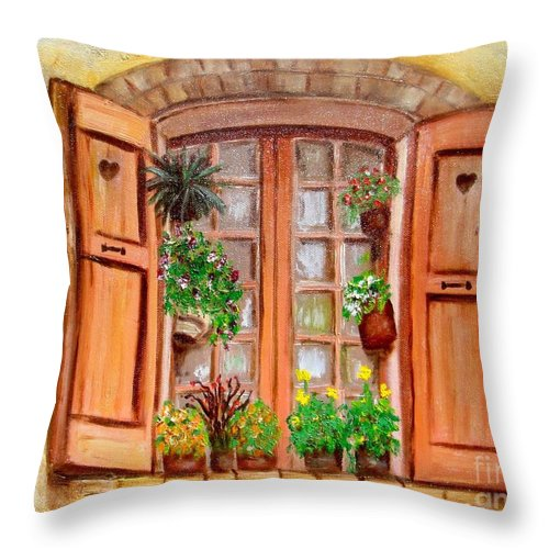 Windows Throw Pillow featuring the painting Love Nest by Laurie Morgan