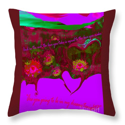 Valentine Throw Pillow featuring the mixed media Love No. 4 by Zsanan Studio