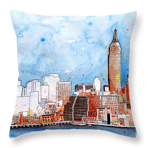 New York City Art Throw Pillow featuring the painting Love NYC by Callan Art